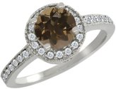 Gem Stone King 1.10 Ct Round Brown Smoky Quartz White Diamond 18K White Gold Ring
