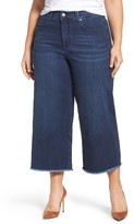 Melissa McCarthy Plus Size Women's Fray Hem Wide Leg Denim Gauchos