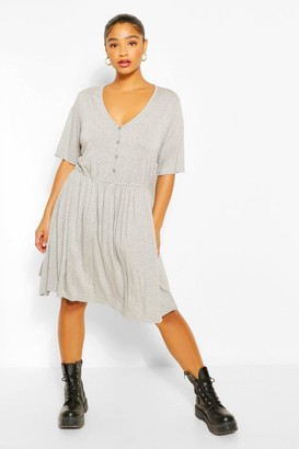 boohoo Plus Button Through Short Sleeve Smock Dress