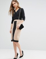 Oasis Color Block Zip Pencil Skirt
