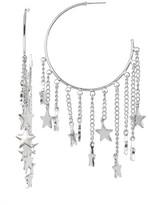 Steve Madden Large C-Hoop Dangling Star Chain Earrings