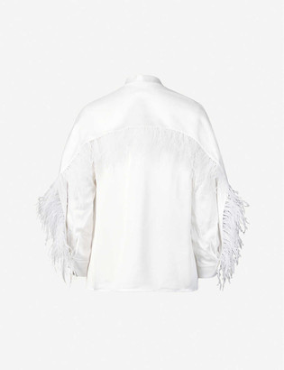 Huishan Zhang Kaylee feather-trim satin shirt