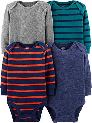 Carter's Simple Joys by Boys' 4-Pack Soft Thermal Long Sleeve Bodysuits