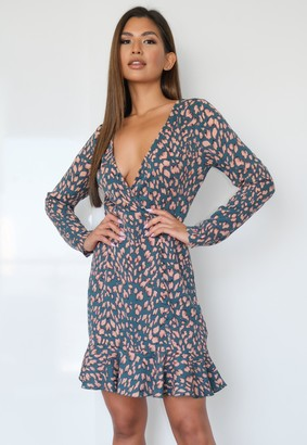 Missguided Tall Teal Animal Print Ruffle Dress