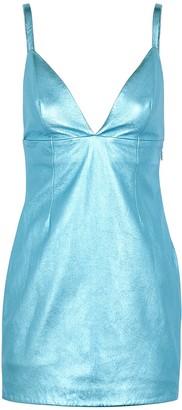 The Mighty Company Primrose Metallic Blue Leather Mini Dress