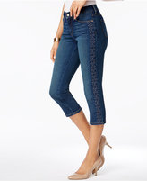 NYDJ Alina Tummy Control Embroidered Capri Jeans