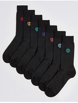 M&s Collection 7 Pairs of Cool & FreshfeetTM Embroidered Socks