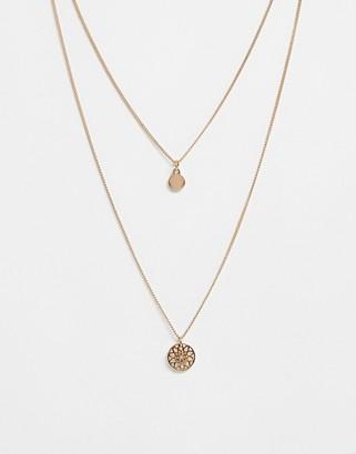 Asos Design DESIGN chakra multirow necklace-Gold