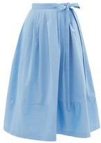 Thierry Colson Java Pleated Cotton Wrap Skirt - Womens - Blue