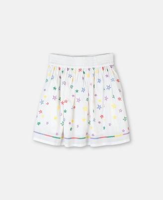 Stella Mccartney Kids Stella McCartney stars embroidery cotton skirt