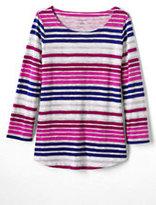 Classic Womens Tall 3/4 Sleeve Art T-Shirt-Foxglove Pink Multi Stripe