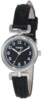 Timex Women's T2N660 Weekender Petite Black Leather Strap Watch