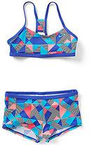 Nike Big Girls 7-16 Optic Pop Print Racerback Bikini Two-Piece Swimsuit