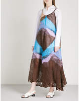 Jil Sander Colourblocked mohair-blend maxi dress