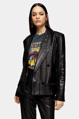 Topshop Womens Idol Black Sequin Blazer - Black