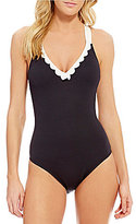 Daniel Cremieux Textured One Piece with Scalloping