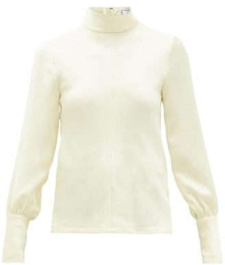 Ami High-neck Crepe Blouse - Ivory