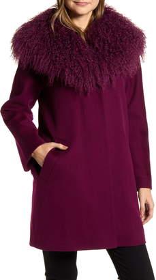 Fleurette Wool Coccon Coat with Genuine Lamb Fur Trim