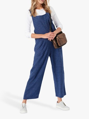 Brora Checked Linen Dungarees, Chambray