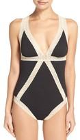 Flora Nikrooz Women's Lace Inset Bodysuit