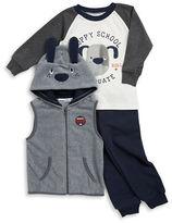Kids Headquarters Boys 2-7 Puppy Fleece Vest, Tee and Pants Set