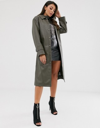 Asos Design DESIGN leather look trench coat in khaki-Green