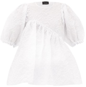 Simone Rocha Puff-sleeve Floral-cloque Top - Womens - White