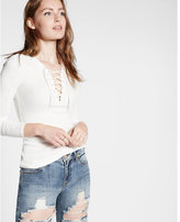 Express ribbed long sleeve lace up tee