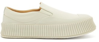Jil Sander Ribbed-sole Slip-on Leather Trainers - White