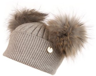 Popski London Double Angora Fur Pom Pom Hat Whisper Grey