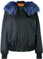 Mr & Mrs Italy - Blue fur trimmed bomber jacket - women - Polyamide/Polyester/Polyurethane/Racoon Fur - S