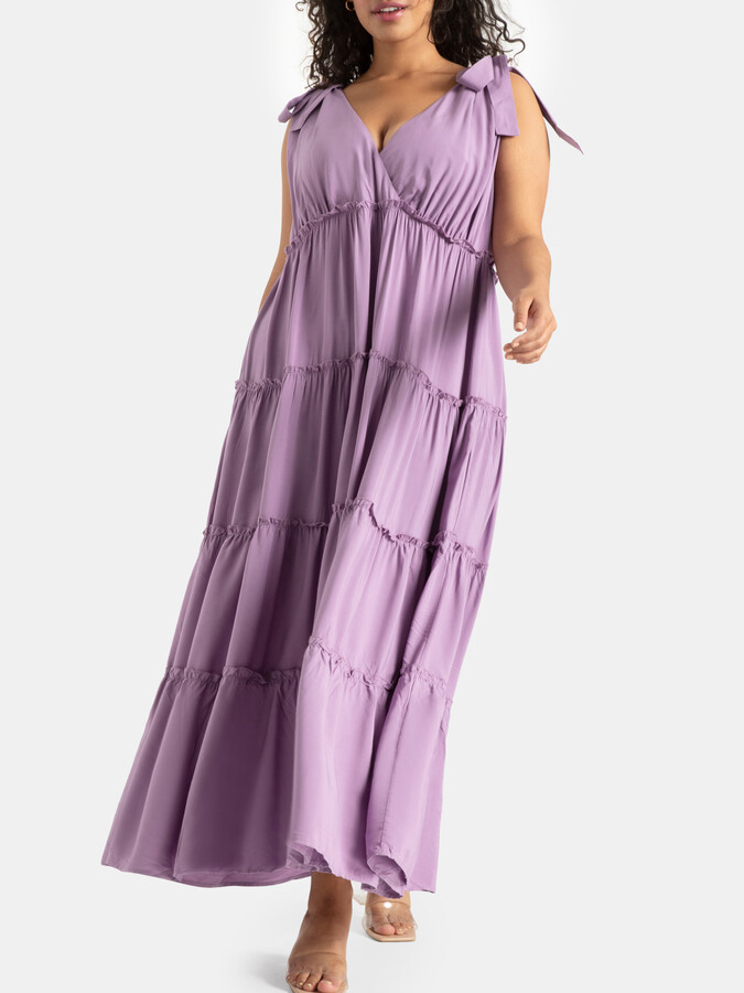 Thumbnail for your product : ELOQUII Tie Strap Tiered Maxi Dress