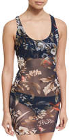 Fuzzi Floral-Print Two-Piece Tankini Swimsuit, Blue