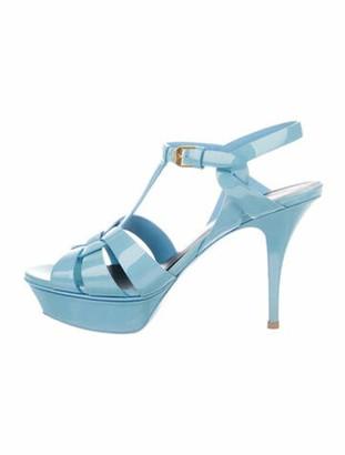Saint Laurent Tribute Patent Leather T-Strap Sandals Blue