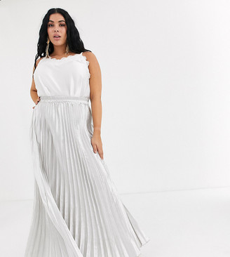 Koco & K Plus pleated maxi skirt in silver