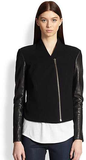 Helmut Lang Eon Leather-Sleeved Cotton & Wool Jacket