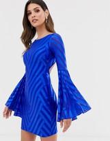 City Goddess bell sleeve open back mini dress