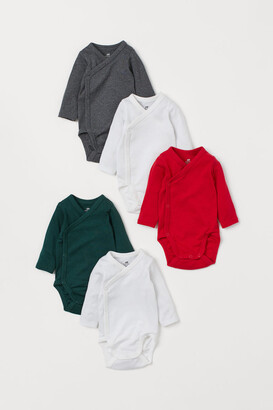 H&M 5-pack Wrapover Bodysuits - Red