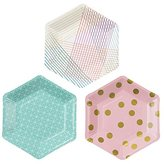 Camilla And Marc Talking Tables Party Time Stylish Hexagonal Plates for a Birthday Party, Multicolor (12 Pack)