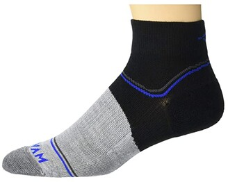 Wigwam Surpass Lightweight Quarter (Black/Grey) Crew Cut Socks Shoes
