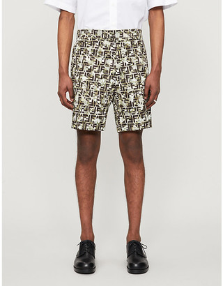 Fendi Camouflage-print cotton-blend twill shorts