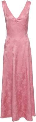 ALEXACHUNG Fluted Satin-jacquard Maxi Dress