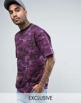 Reclaimed Vintage Inspired Oversized Camo T-Shirt In Purple Overdye