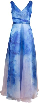 Marchesa V-Neck Printed Organza Gown