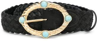 Alberta Ferretti Embellished Woven Belt