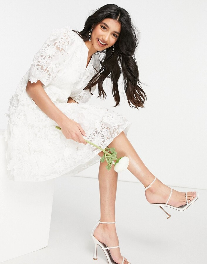 Thumbnail for your product : Y.A.S Bridal mini smock dress with aplique in white