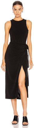 Proenza Schouler White Label Matte Jersey Sleeveless Wrap Dress in Black | FWRD