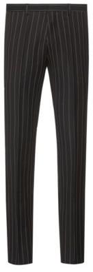 HUGO BOSS Extra Slim Fit Pants In Pinstripe Virgin Wool - Black