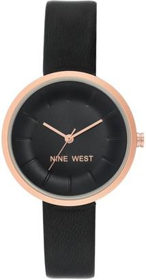 Nine West Women's Rosetone Black Dial Watch