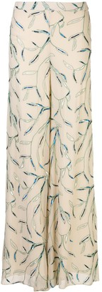 Alexis Fallen foliage embroidered trousers